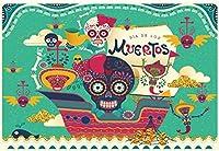 新しいディアデロスムエルトスの背景7x5ftメキシコの死者のパーティーの写真の背景マリーゴールドフォークロアスカルデスフェスティバル古代の宗教紙切断パーティーの装飾デジタルスタジオの小道具