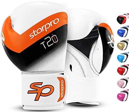 Starpro T20 Guantes de Boxeo de Cuero de PU para Entrenamiento y Sparring en Muay Thai Kickboxing Fitness - Hombres y Mujeres - Múltiples Colores - 8oz 10 oz 12 oz 14 oz 16 oz (Naranja, 12oz)