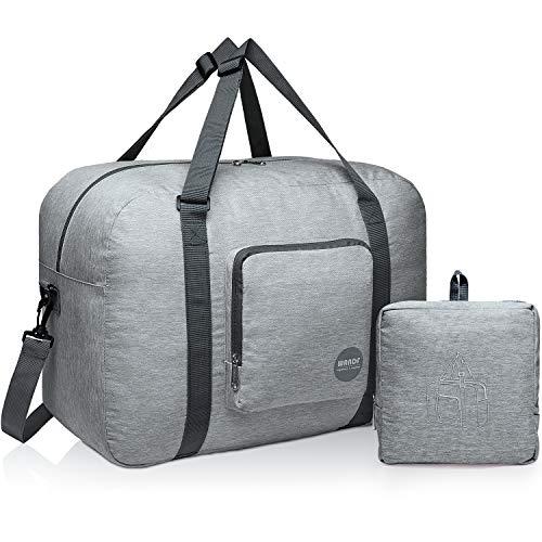 Wandf Foldable Travel Duffel Bag Luggage Sports Gym Water Resistant Nylon (C-Light Grey Denis)