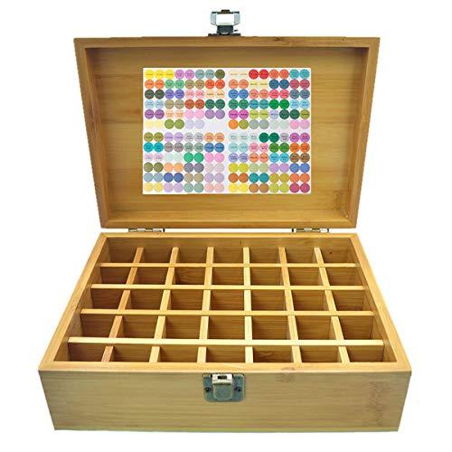 Beunyow 35 Botellas Caja de Aceite Esencial Organizador de Bambú Estuche Portátil Caja de Almacenamiento de Aromaterapia para almacenar Aceite, Perfume, Aceite Esencial para Negocios
