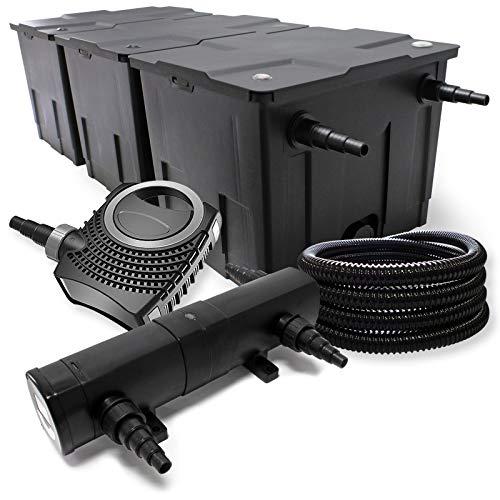 Filter Set aus Bio Teichfilter bis 90000l, UVC Teichklärer mit 36W, 80W Pumpe und 25m Schlauch