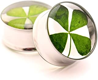 nugroho_mys Pair of Real 4 Leaf Clover Plugs gauges