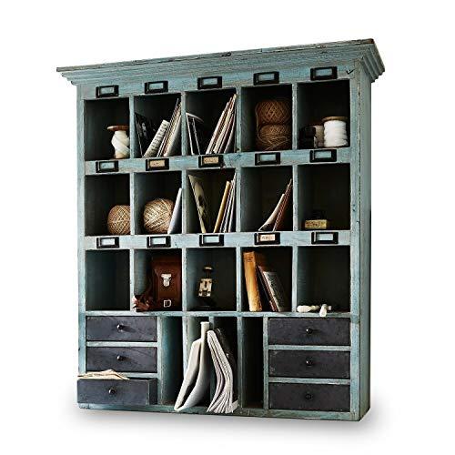 Loberon Regal Andover, Tannenholz, H/B/T ca. 86/78 / 26 cm, graublau