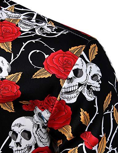 ZEROYAA Men's Hipster Rose Skull Printed Casual Slim Fit Long Sleeve Button Down Shirts ZLCL04-106-Black Medium
