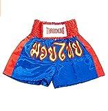 asmanjune Kids Muay Thai Boxing Shorts Kick Boxing Trunks Satin Blue & red Size s