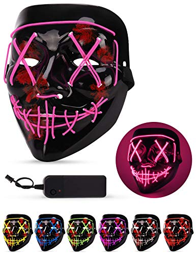 Maschera LED Halloween, the Purge Mask LED che si Illumina nella Notte, LED Maschera Viso 3 Modalità di Luci, Maschera da La Notte Del Giudizio per Costume Cosplay Festa e Party di Carnevale - Rosa