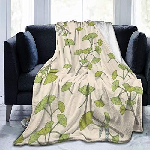 QIUTIANXIU Mantas para Sofás de Franela 150x200cm Fitoterapia Floral Botánico Verde Ginkgo Biloba Naturaleza Hojas Elegante Manta para Cama Extra Suave