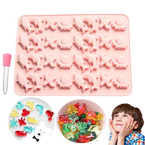 LaVenty Sea Animals Gummy Mold Mini Fruit Gummies Pan Ocean Gummy Candy Mold for Chocolate Jelly Ice Cube Pralines Caramels Snacks with Dropper