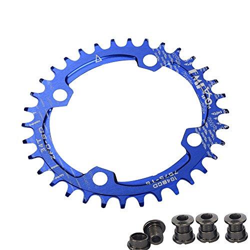 Plato para bicicleta de Upanbike, diseño estrecho y ancho, forma ovalada, plato único BCD, 104mm, 32/34 y 36 dientes, azul, 34T