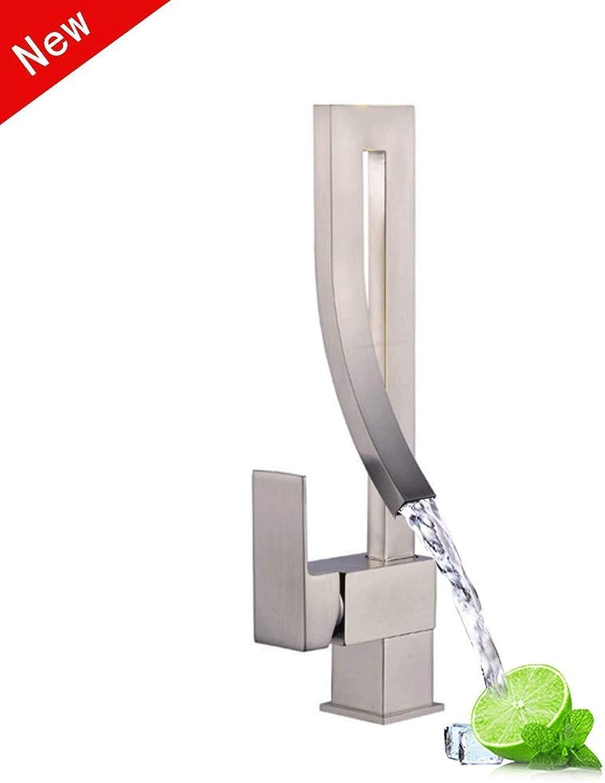 FangNing Spülbecken Wasserhahn Mischbatterie für Badezimmer Messing Bleifrei Nickel gebürstet