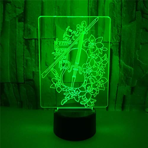 3D Led Optical Illusion Lamps Night Light, Musical Instrument Cello 16 Colors Touch Art Sculpture Lights with USB Cables Bedroom Desk Table Decoration Lamp Birthday Holiday Gift for Kids