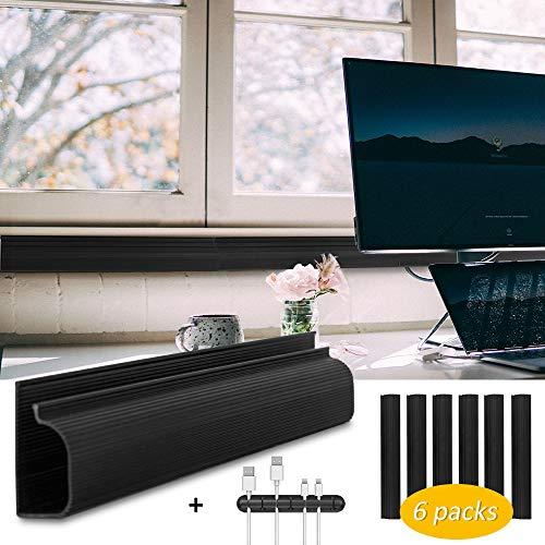 Preisvergleich Produktbild Baskiss 6er-Pack,  243, 8 cm Kabel-Management-Rennbahn,  Kabel-Organizer,  Kabel-Abdeckung,  Concealer für Schreibtische,  Büros und Küchen,  je 40, 6 cm schwarz