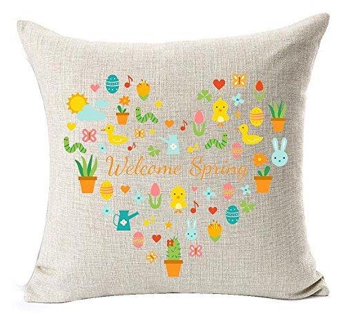 Pillow Cover Welcome Spring - Funda de cojín con diseño de Conejo de Pato y Flores de Colores para Regalo de Pascua, algodón, Lino y decoración de sofá o balcón