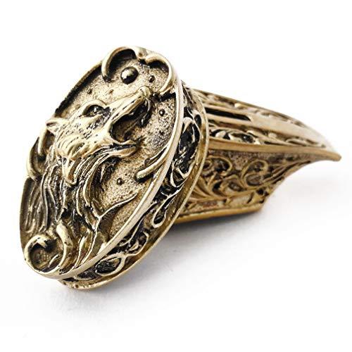 CooB Knife Finger Guard Bolster Pommel Wild Wolf Fenrir Set. Bronze Had-Casted Knife Supplier Accessories for Custom Handle Knife Making (Wolf)