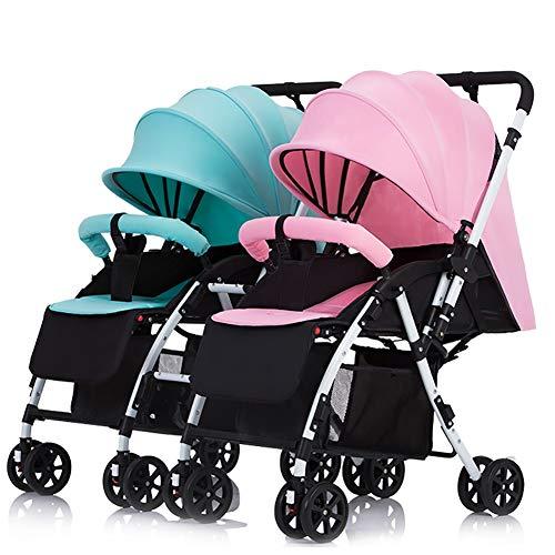 Poussettes JCOCO jumelle à poignée détachable Porte-bébé réversible Peut s'asseoir et Se Coucher léger Chariot Double Pliable (Couleur : Mint Green+Pink)