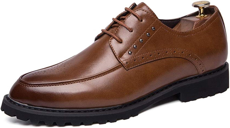 HYF Herren Oxford Klassische Business Casual Schuhe Mikrofaser Leder Kleid Flache Anti-slip Müßiggänger Schnitzen Runde Kappe Schnürschuhe Modern  | Vorzugspreis