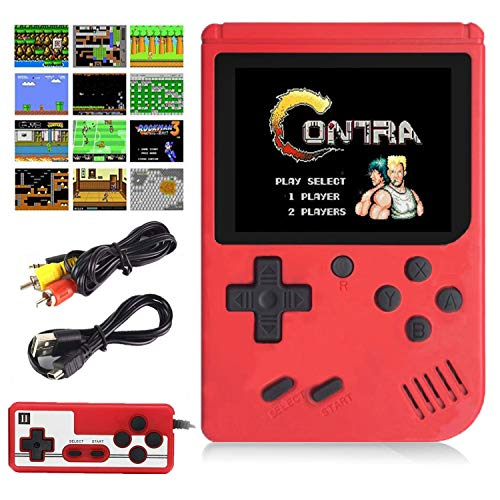 Aisallin Retro FC Handheld Game Console with 400 Classic Games for Kids Adult, 3 Inch HD Screen FC Video Game Console with Much Childhood Fun Support TV Output 2 Players USB Rechargeable (Red)