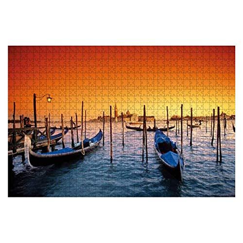 Italia Veneto Venezia gondole e isola di san Giorgio Romantic Venice 1000 Piece Wooden Jigsaw Puzzle DIY Children Educational Puzzles Adult Decompression Gift Creative Games Toys Puzzles Home Decor