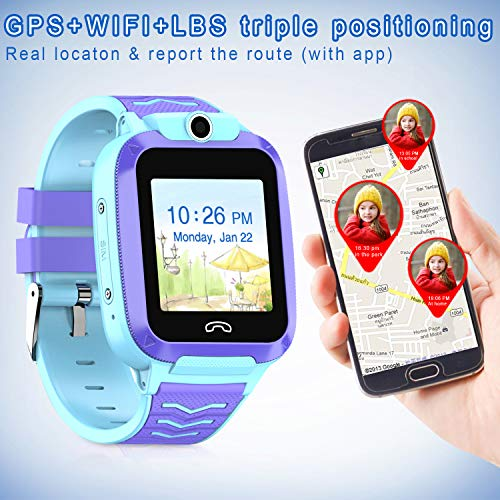 UOTO 4G Kids Smartwatch Phone, WiFi LBS GPS Tracker Watch Waterproof for Boys Girls with Pedometer/Remote monitoring/FaceTalk/2-way Call/SOS, Kids Christmas Birthday Gift(Blue-Q51) 6