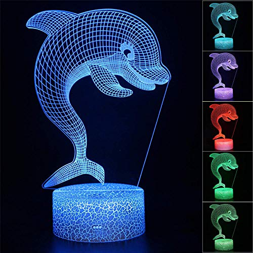 3D-Nachtlicht für Kinder, optische Täuschung, Delphin, Delphinus, USB-Tischlampe, Puppen-Dekoration, Licht, 16 Farben, LED-Nachtlicht für Zuhause