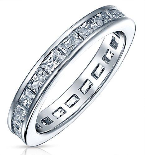 Bling Jewelry Zirconia Cúbico Simple Canal Corte Princesa CZ Apilable Banda Boda Anillo De La Eternidad para Mujer 925 2Mm