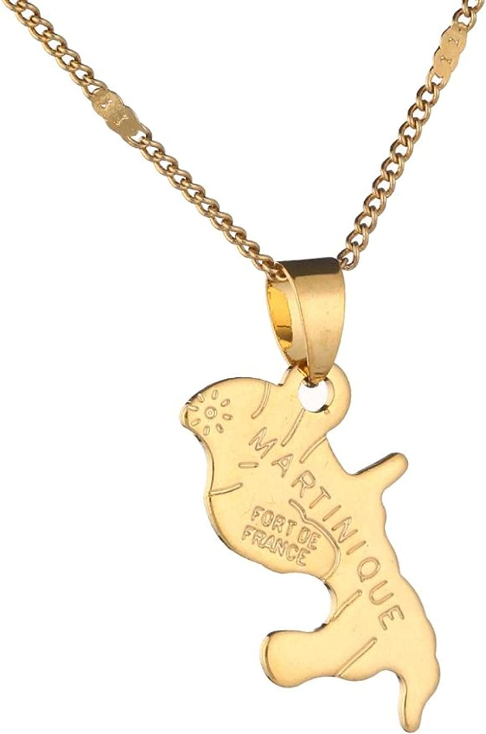 Map Surprise price Of Martinique Necklace Pendants Color Women For Jewelry Gold OFFicial mail order