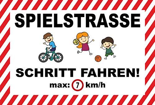 Schild 45x30cm Spielstraße - Schritt Fahren - 3mm Hartschaum - 20 Varianten