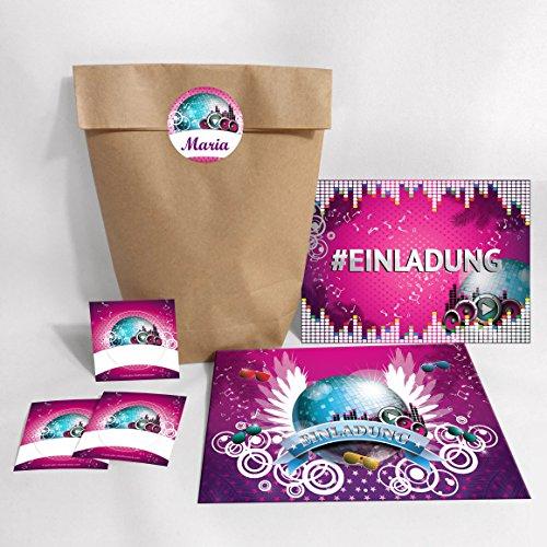 10-er Set Einladungskarten, Umschläge, Tüten, Aufkleber Geburtstag Hashtag / Kinder Erwachsene / #Einladung / Disco-Kugel (10 Karten + 10 Umschläge + 10 Party-Tüten (Kreuzbodenbeutel) + 10 Aufkleber)