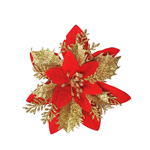Mingbai 12 Pcs Glitter Christmas Flowers(15cm/5.9'') with 12 Pcs Clips Artificial Poinsettia Flowers Christmas Tree Flower Decorations Xmas Tree Ornaments (Red)