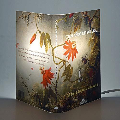 Lampada a Libro Abat Book Copertina CENT'ANNI DI SOLITUDINE di Gabriel García Márquez, Lampada da Tavolo Comodino, Abat Jour Artigianale, Made in Italy