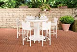 CLP Gartenbar Set Mari XL Aus Wetterbeständigem Polyrattan I Bartisch Mit Eingelassenem Edelstahlkübel Und 6 Stühlen Weiß