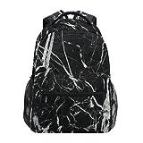 ZZKKO Stripe Marble Black and White Boys Girls School Computer Backpacks Book Bag Travel Hiking Camping Daypack