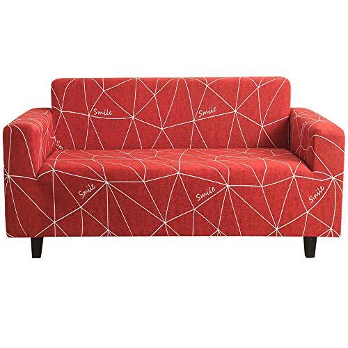 Funda Sofá 4 Plazas Rojo Impresión Universal Cubierta de Sofá Funda de Sillón Spandex Stretch Cubre Sofá Funda Furniture Protector Antideslizante Sofa Couch Cover 235-300 cm