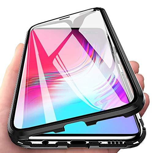 Yichxu Samsung S10 5G Hülle Magnet, Magnetische Adsorption Handyhülle für Samsung Galaxy S10 5G, Einteiliges 360 Grad Gehärtetes Glas Schutzhülle Dünn Panzerglasfolie Durchsichtige Case Cover,Schwarz