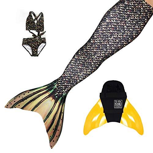 Sun Tails Set Premium Meerjungfrauenflosse Sea Monster Meerjungfrau Flosse zum Schwimmen und Tauchen Bademode Bikini Cosplay XL mit Monoflosse orange Kostüm und Bikini