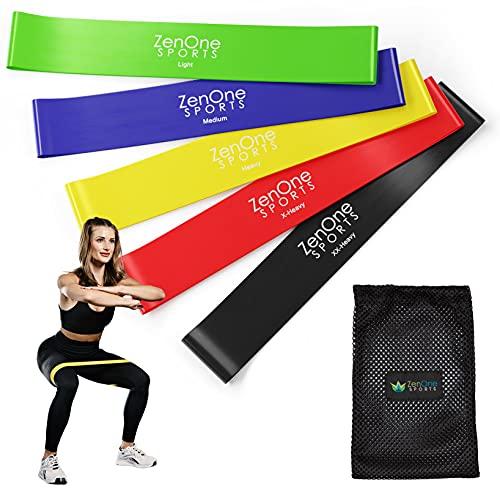 ZenLoops Fitnessbänder Set, 5 Resistance Bands in versch. Stärken, Booty Band für Bein- und Po Training Zuhause, stabile Gymnastikbänder, inkl. E-Book, Workout-Guide & Tasche, 5 Stück (Latex Bunt)