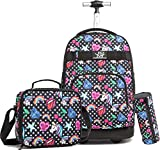 Unicorn Rolling Backpack for Girls with Wheels Travel Trip Luggage Big Kids School Bag