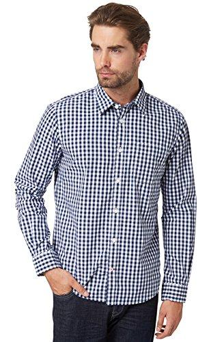 TOM TAILOR Herren Ray Cosy Vichy Check shirt/507 Freizeithemd, Blau (Navy 6000), Small (Herstellergröße: S)