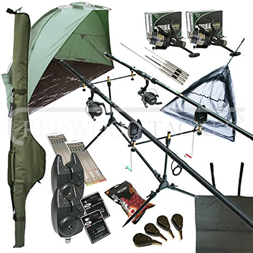 OAKWOOD Deluxe Complete Full Carp Fishing Set up With 2 x Rods Reels Alarms Tackle Bait