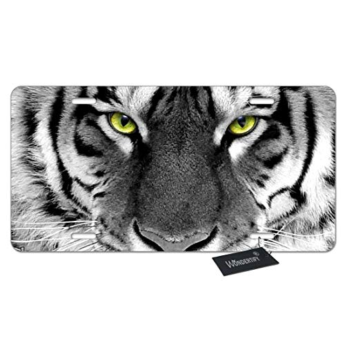 WONDERTIFY License Plate White Tiger with Green Eyes Watching You Decorative Car Front License Plate,Vanity Tag,Metal Car Plate,Aluminum Novelty License Plate,6 X 12 Inch (4 Holes)