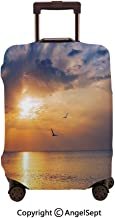 Travel Luggage Cover Dustproof Suitcase,Early Morning Sunrise Over the Ocean and a Bird Horizon Nature Panoramic Blue and Orange,23.6x31.9inches,Cover Suitcase Protector Carry-On