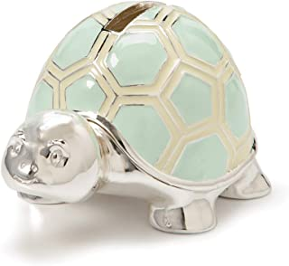 DEMDACO Smiling Turtle Mint With Buttercup Silver-Plated Zinc Children's Coin Money Bank