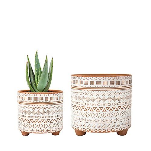 Set of 2 Terracotta Planter Pots, 4 Inch & 6 Inch, Geometric Design Plants Pot with Drainage Hole, Terracotta/White, 31-953-D-1