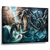 Poseidon Poster Wall Art Modern Greek Mythology Decor Giclee Canvas Painting Pictures Prints for Men Dark Energy Poseidon Rectangle Posters for Room Aesthetic Unframed 12x18 inch(30x45cm)