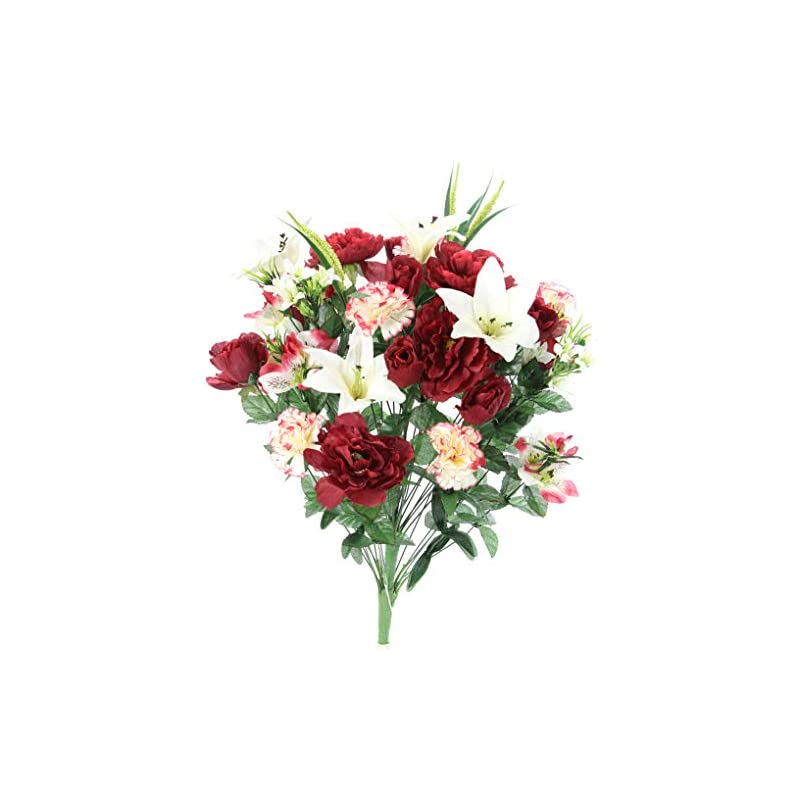 silk flower arrangements admired by nature abn1b001-bg/cm 40 stems artificial full blooming lily, rose bud, carnation and mum with greenery mixed flower bush, burg/cream, bg/cm