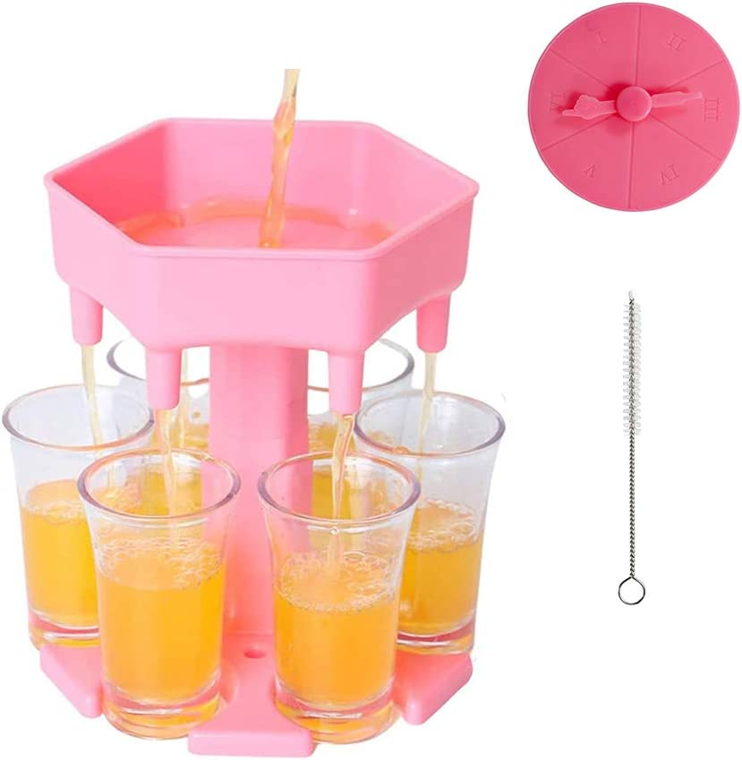 6 Shot Glass Dispenser and Holder, with 12 Leak Plugs, Game Turntable for for Filling Liquids, Home Party Bar Shot Dispenser Cocktail Dispenser Carrier Liquor Drinking Glass Dispenser (Pink)
