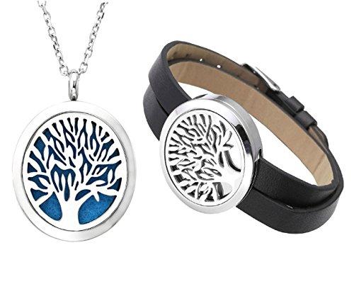 PiercingJ Baum des Lebens Schmuck Set Öl Aromatherapie Diffuser Locket Halskette + Locket Armband mit Echt Leder Band, mit 12x Ätherische Öle Pads (schwarz)