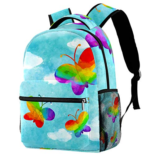Butterfly LGBT Pride Rainbow Backpack for Teens School Book Bags Travel Casual Daypack