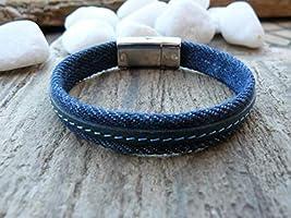 Bracelet homme en jean et cuir cousu, cadeau homme, bracelet homme, bracelet jean, bracelet cuir, fermoir aimanté, pour lui