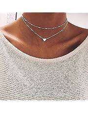 Jovono Skiktat hjärta hänge halsband silver pärlor halsband kedja för kvinnor och flickor